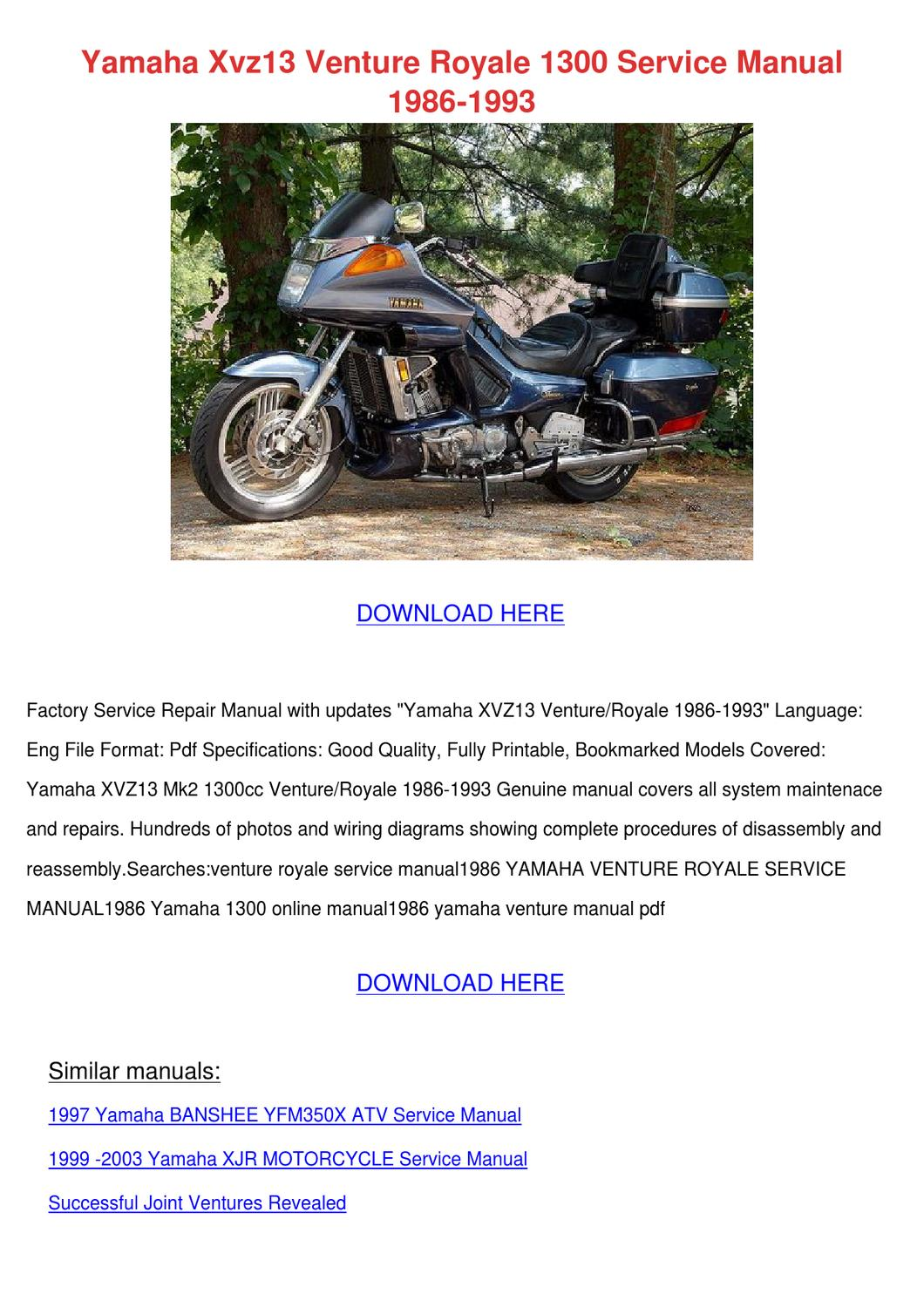 Yamaha Venture Mp Service Manual Good Owner Guide Website Wiring Diagram Viking 2003 Fjr1300 Pdf Download Autos Post Multi Purpose Owners