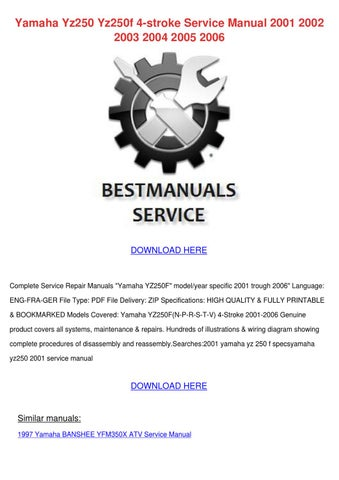 2009 yamaha yz250f y service repair manual
