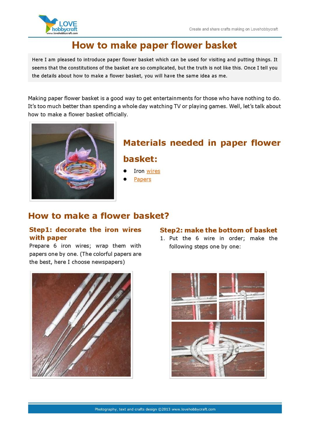 How To Make Paper Flower Basket By Green Ada Issuu