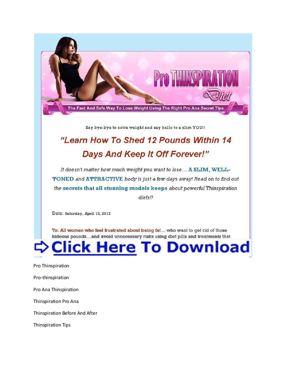 Thinspiration Weight Loss + Pro Ana Thinspiration Before