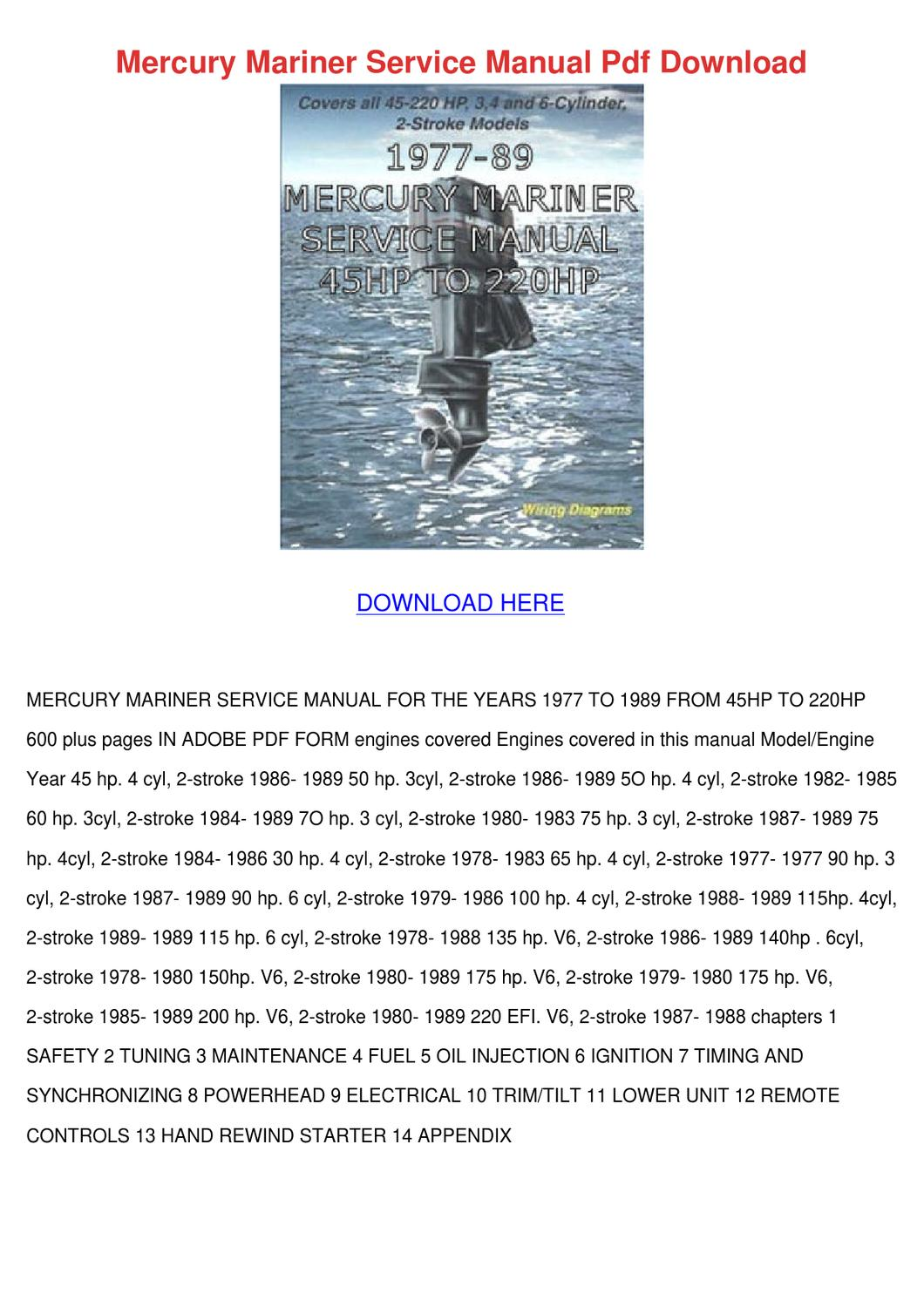 Mercury Mariner Service Manual Pdf Download by Svetlana Sovereign - issuu