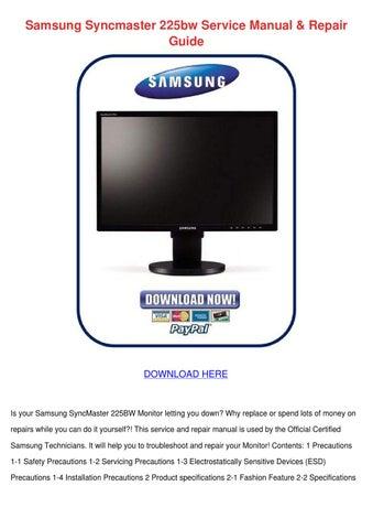 samsung syncmaster 225bw service manual repai by ronda geren issuu rh issuu com Samsung SyncMaster V Leg Samsung SyncMaster V Leg