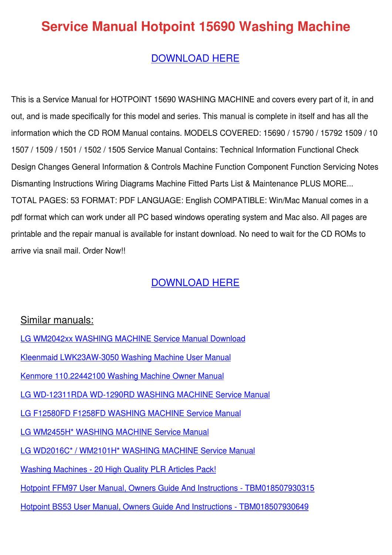 Service Manual Hotpoint 15690 Washing Machine By Ronda Geren Issuu Kenmore 110 Wiring Diagram