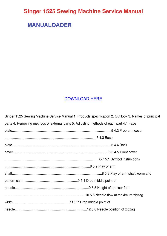 Singer 1525 Sewing Machine Service Manual by Ronda Geren - issuu