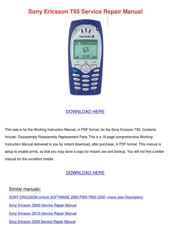 Sony Ericsson T65 Service Repair Manual by Ronda Geren - issuu