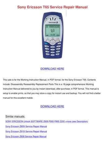 sony ericsson t65 service repair manual by ronda geren issuu rh issuu com Sony Ericsson Phones Sony Ericsson P910