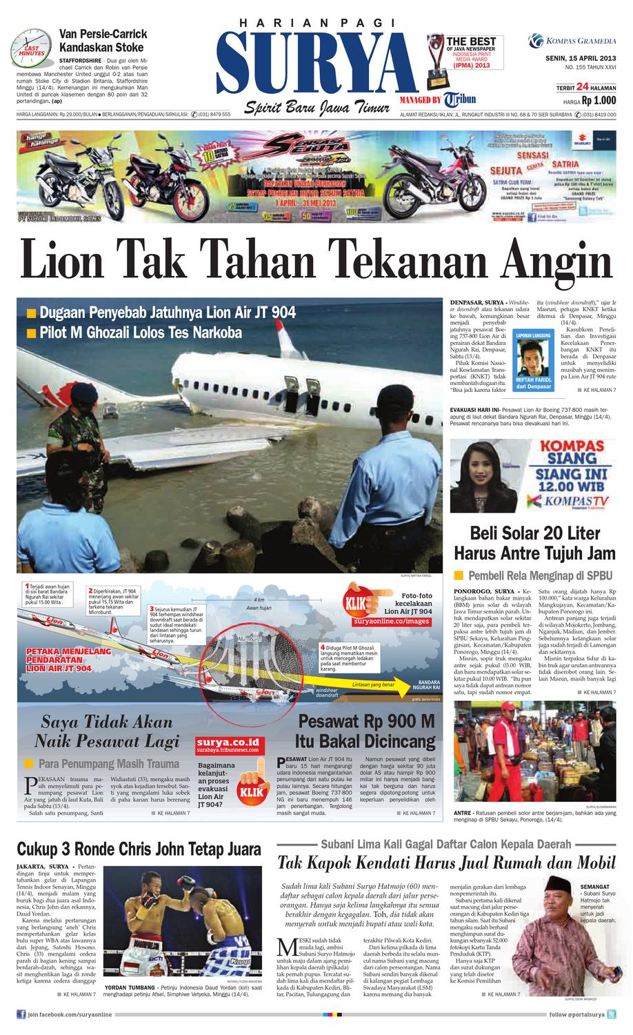 E Paper Surya Edisi 15 April 2013 By Harian SURYA Issuu
