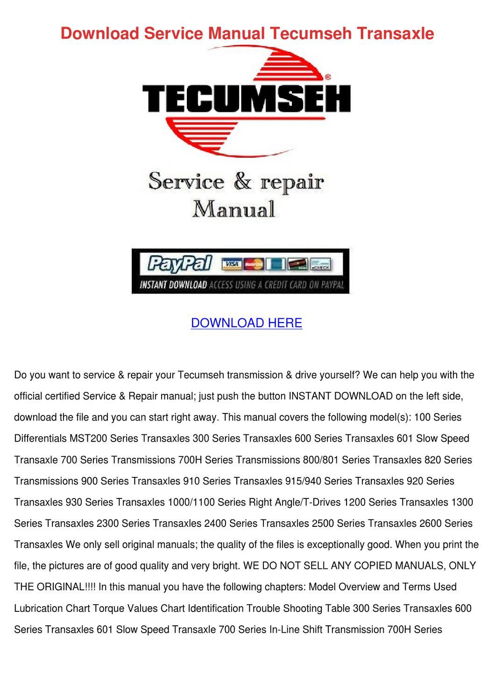 Download Service Manual Tecumseh Transaxle by Bethann Plympton - issuu