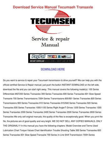 Download Service Manual Tecumseh Transaxle by Bethann Plympton - issuu
