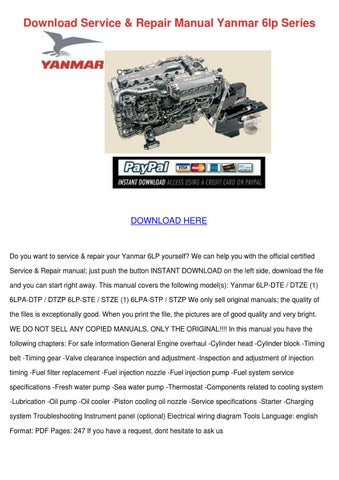 download service repair manual yanmar 6lp ser by bethann plympton rh issuu com yanmar 155 service manual yanmar 155 service manual