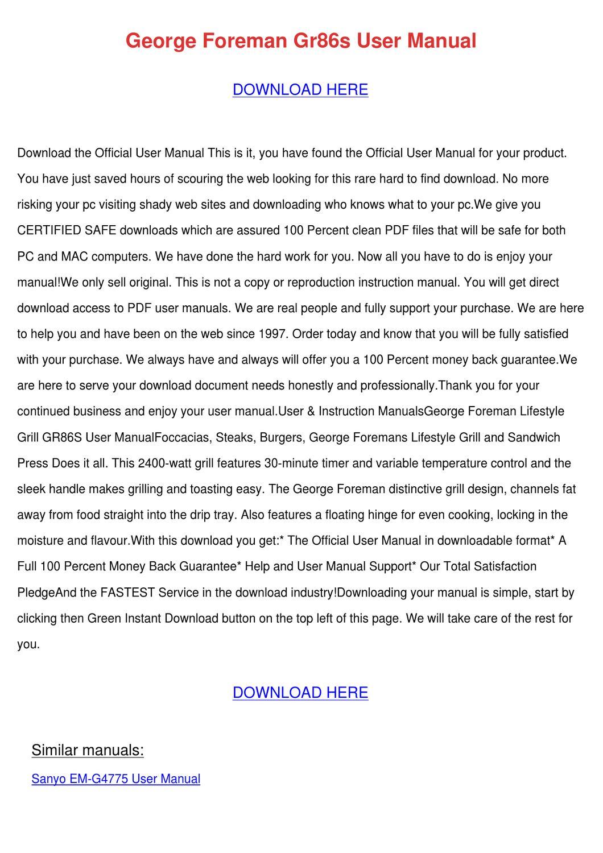 George Foreman Gr86s User Manual by Bethann Plympton - issuu