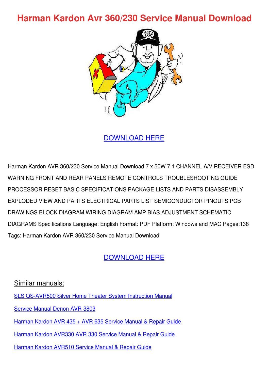 Harman Kardon Avr 360230 Service Manual Downl by Bethann Plympton - issuu