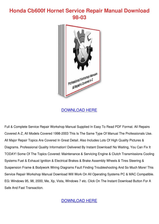 Honda Cb600f Hornet Service Repair Manual Dow by Bethann Plympton ...