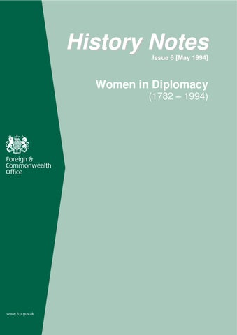 Women in Diplomacy: The FCO, 1782-1999 by FCO Historians - issuu