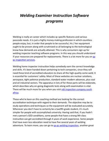 Welding Examiner Instruction Software Programs By Tony Lopez Issuu