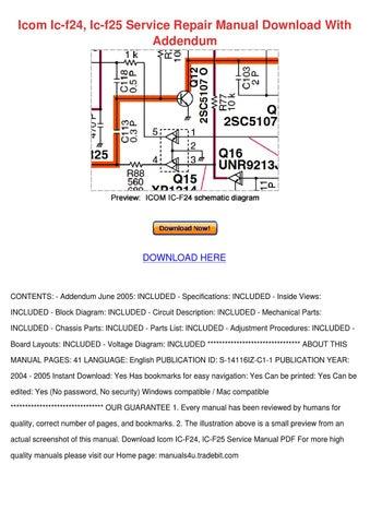 icom ic f24 ic f25 service repair manual down by beckie aina issuu rh issuu com Icom VHF Radios Manuals Icom Manuals PDF