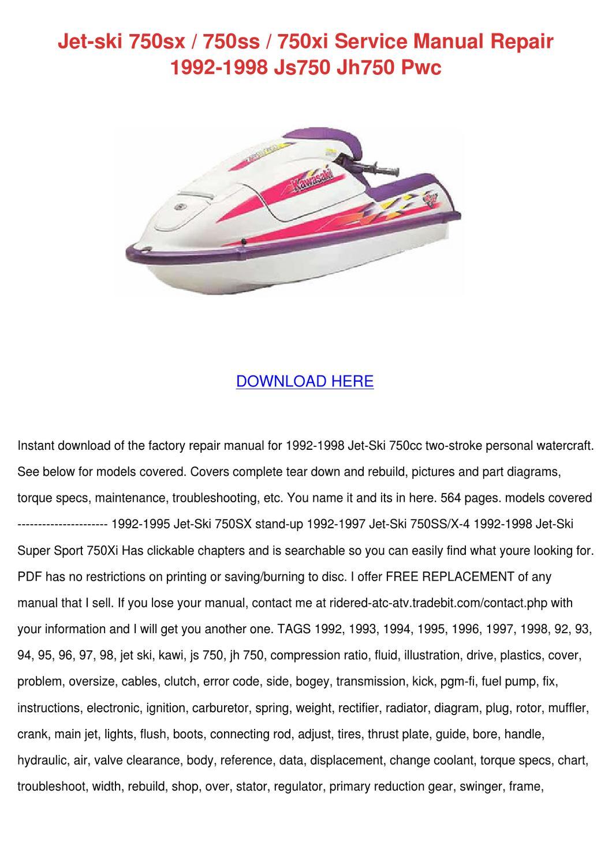 Jet Ski 750sx 750ss 750xi Service Manual Repa by Beckie Aina - issuu