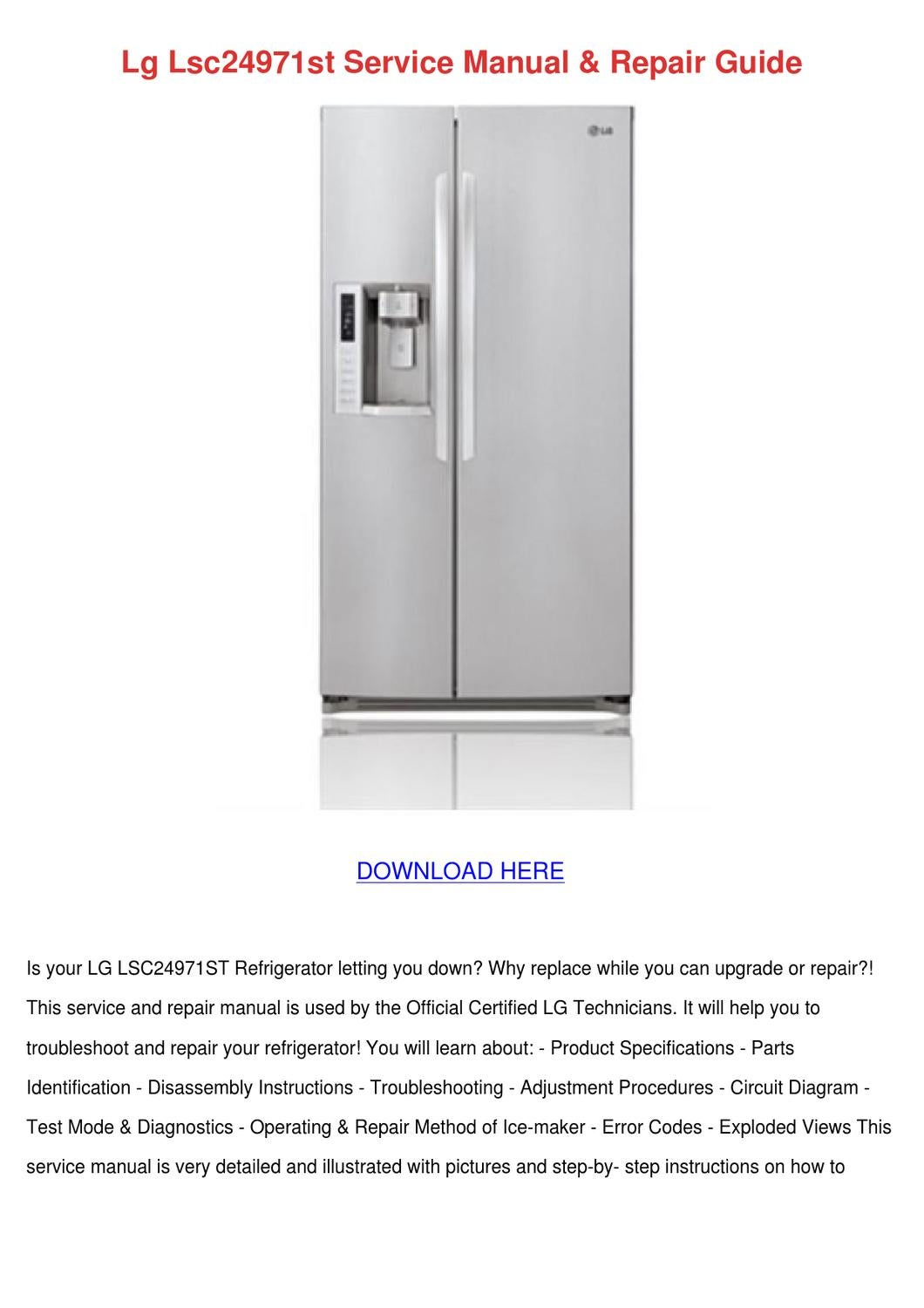Lg Lsc24971st Service Manual Repair Guide By Beckie Aina Issuu Refrigerator Schematics