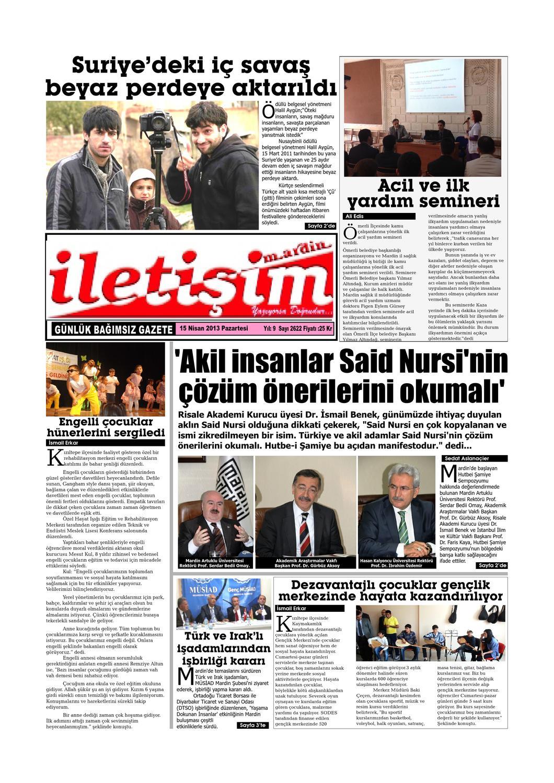 15 Nisan 2013 Pazartesi Gazete Sayfalari By Mardin Iletisim