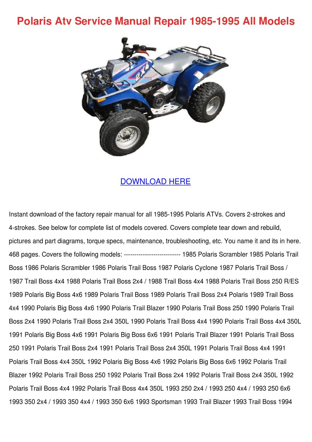polaris atv service manual repair 1985 1995 a by luci jacobi issuu rh issuu com 1993 Polaris Trail Boss 350 1990 Polaris Trail Boss 350