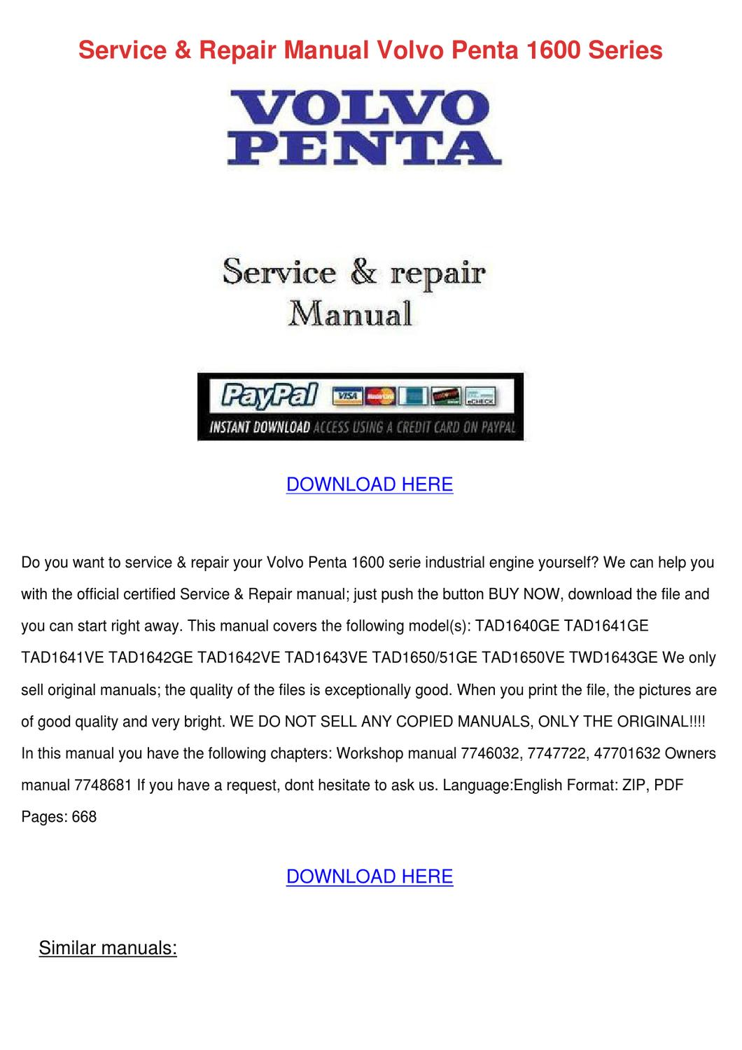 volvo penta repair manual download