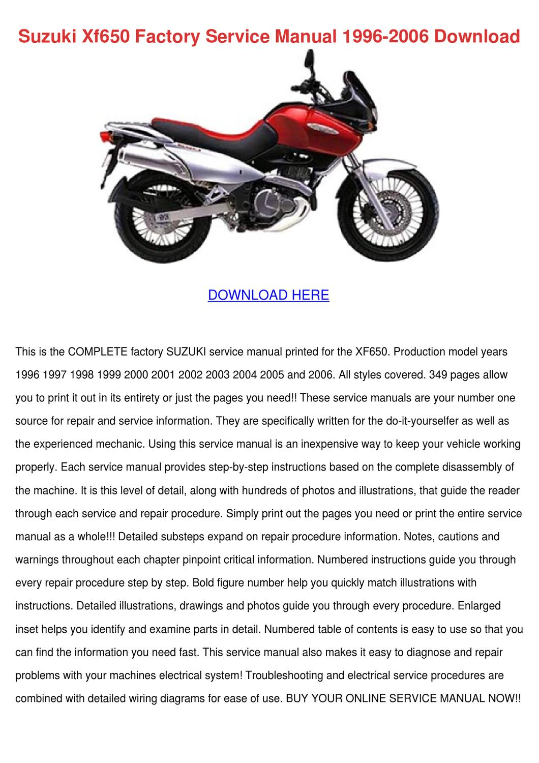 Suzuki Xf650 Factory Service Manual 1996 2006 By Luci Jacobi Issuu 2002 Bandit 600 Wiring Diagram