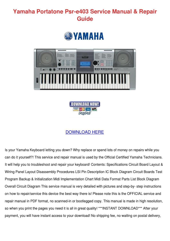 Yamaha Portatone Psr E403 Service Manual Repa by Mavis Sakihara ...