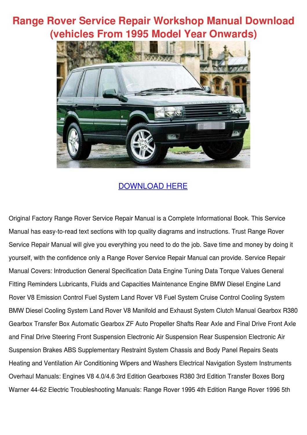 Land Rover Discovery 2  1999-2004 Service Repair Workshop Manual