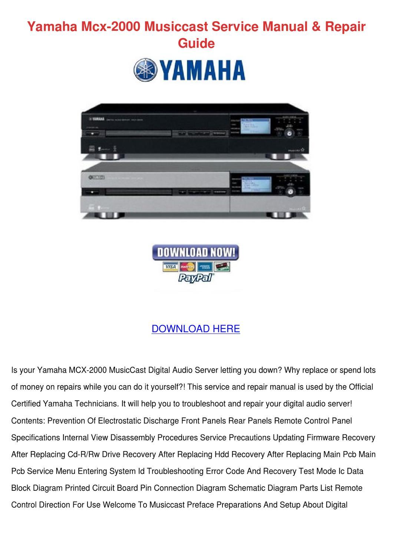 Yamaha Mcx 2000 Musiccast Service Manual Repa by Gloria Borella ...