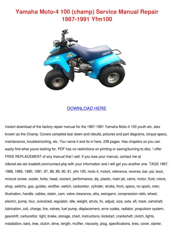Yamaha Moto 4 100 Champ Service Manual Repair by Gloria Borella ...