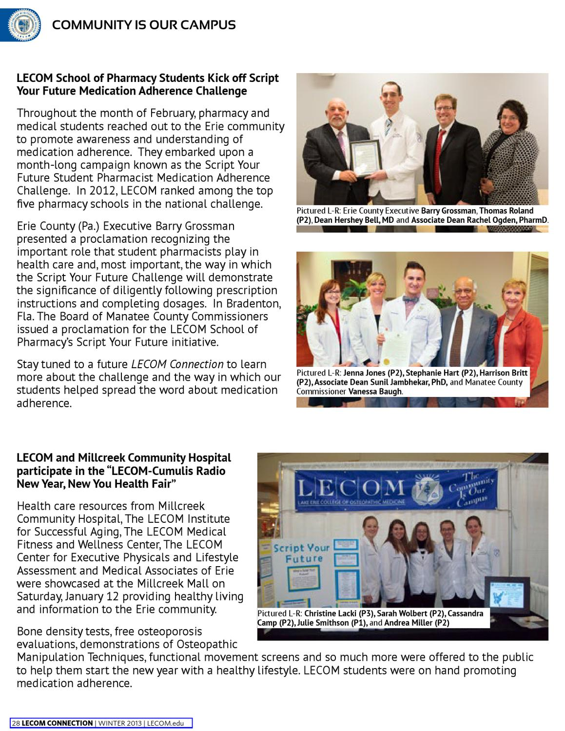 LECOM Connection Winter 2013 by Lake Erie College of