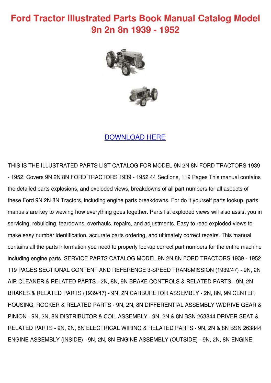 ford 8n parts manual pdf