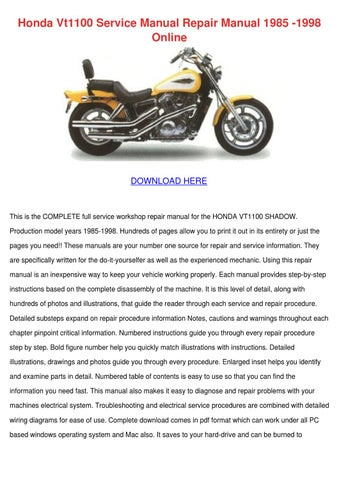 Honda Vt1100 Service Manual Repair Manual 198 By Shameka Dice Issuu