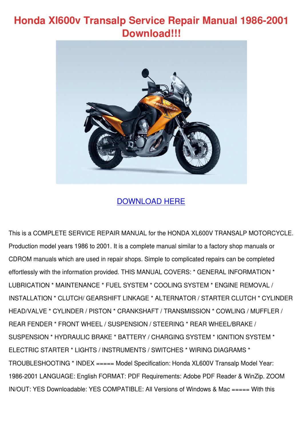 Honda Xl600v Transalp Service Repair Manual 1 By Shameka Dice Issuu