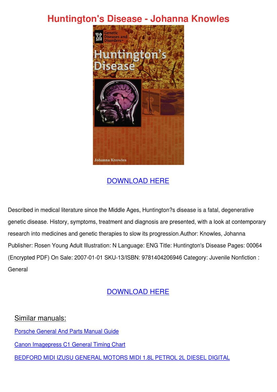 Huntingtons Disease Johanna Knowles by Shameka Dice - Issuu