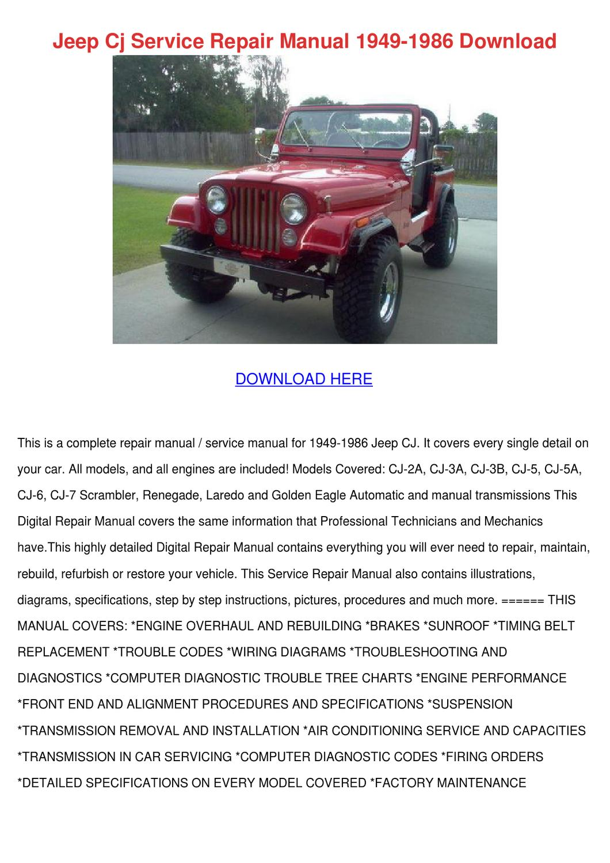 Jeep Cj Service Repair Manual 1949 1986 Downl by Elma Myung - issuu