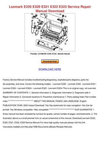lexmark e320 e322 e322n service manual repair guide
