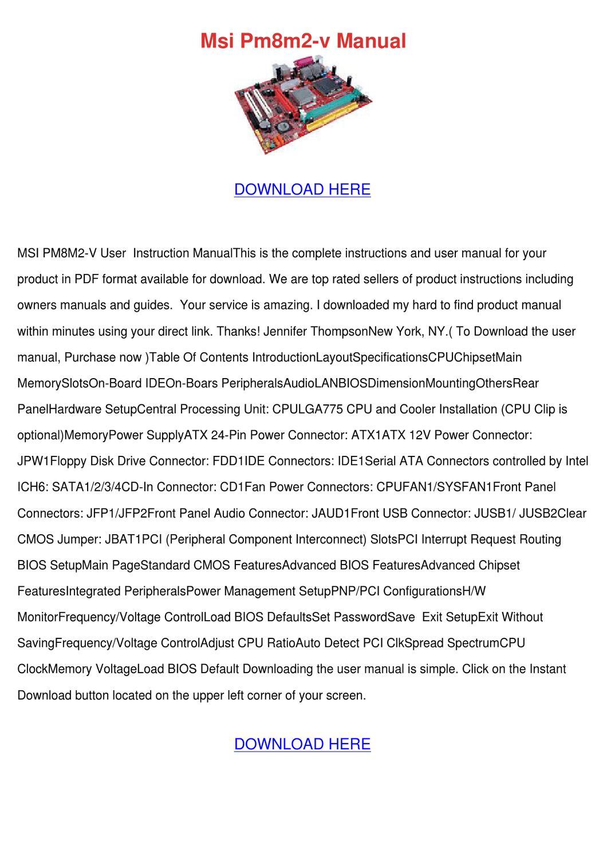 Msi Pm8m2 V Manual by Elma Myung - issuu