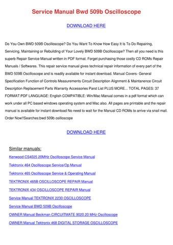 service manual bwd 509b oscilloscope by jillian gabby issuu rh issuu com Analog Oscilloscope Tektronix Oscilloscope ManualDownload