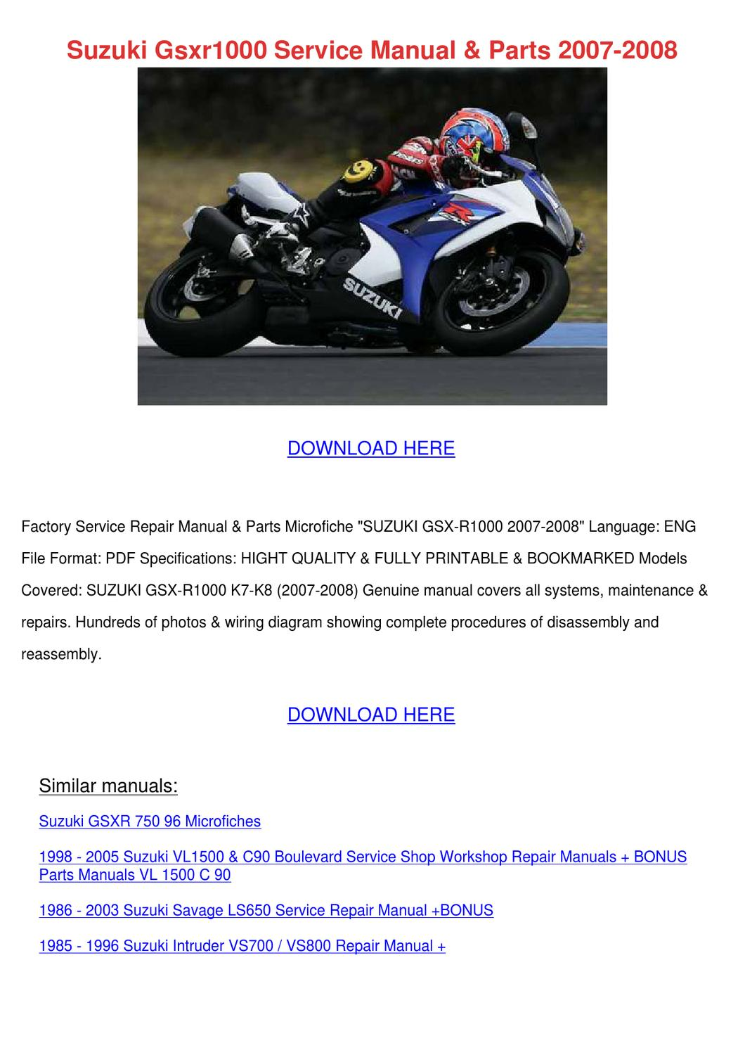 Suzuki Gsxr1000 Service Manual Parts 2007 200 By Jillian Gabby