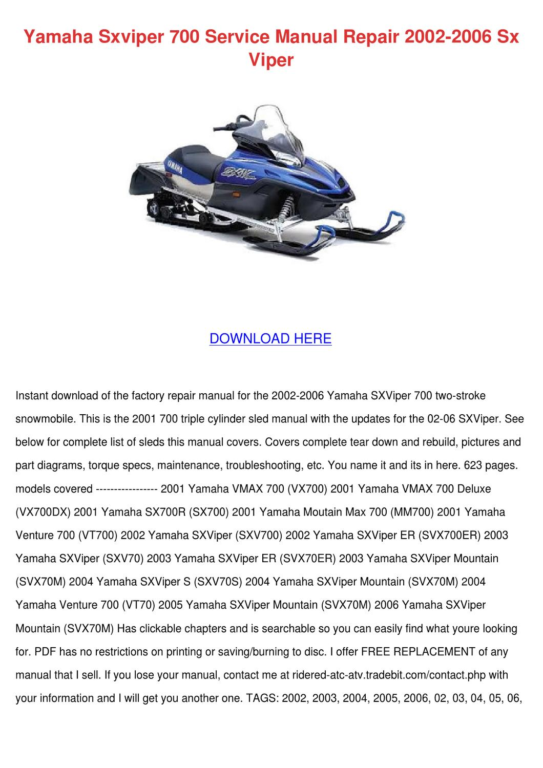 ... Array - yamaha sxviper 700 service manual repair 2002 by tiana chretien  issuu rh issuu ...