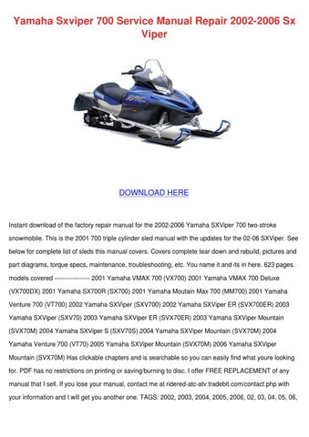 2002 yamaha viper 700 manual array yamaha sxviper 700 service manual repair 2002 by tiana chretien issuu rh issuu com fandeluxe Gallery