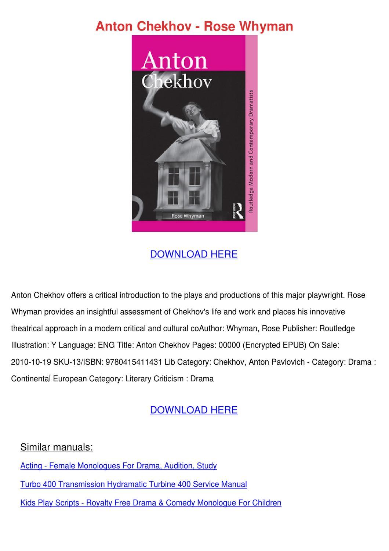 Anton Chekhov Rose Whyman by Delisa Beckstrand - issuu