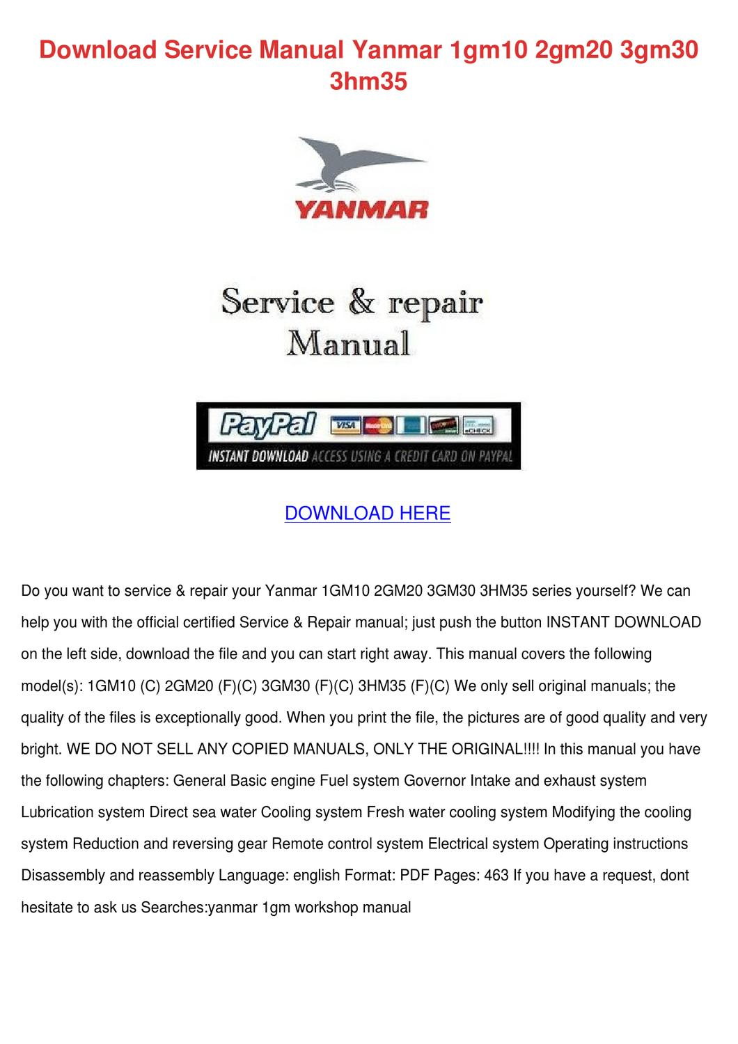 Download Service Manual Yanmar 1gm10 2gm20 3g By Doria Koback Issuu 2gm Engine Wiring Diagram