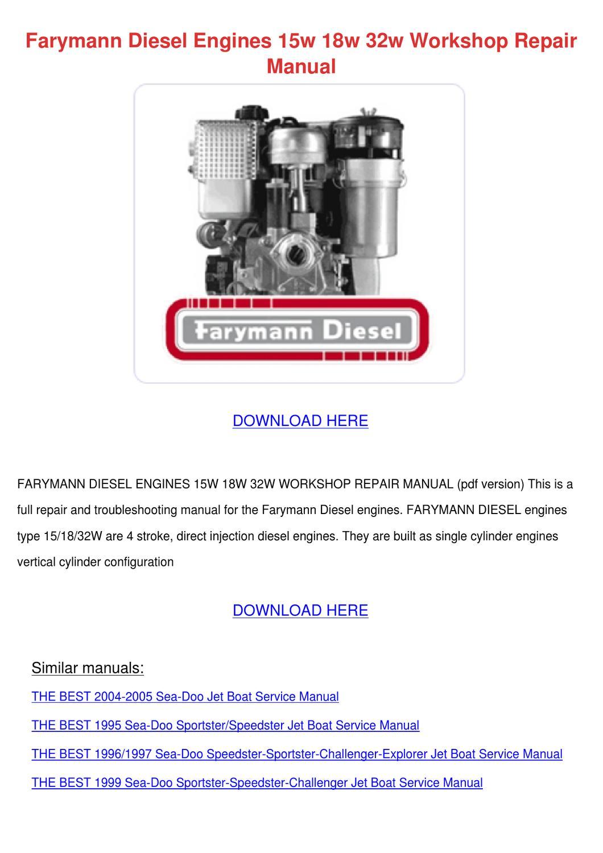 Farymann Diesel Engines 15w 18w 32w Workshop by Doria Koback