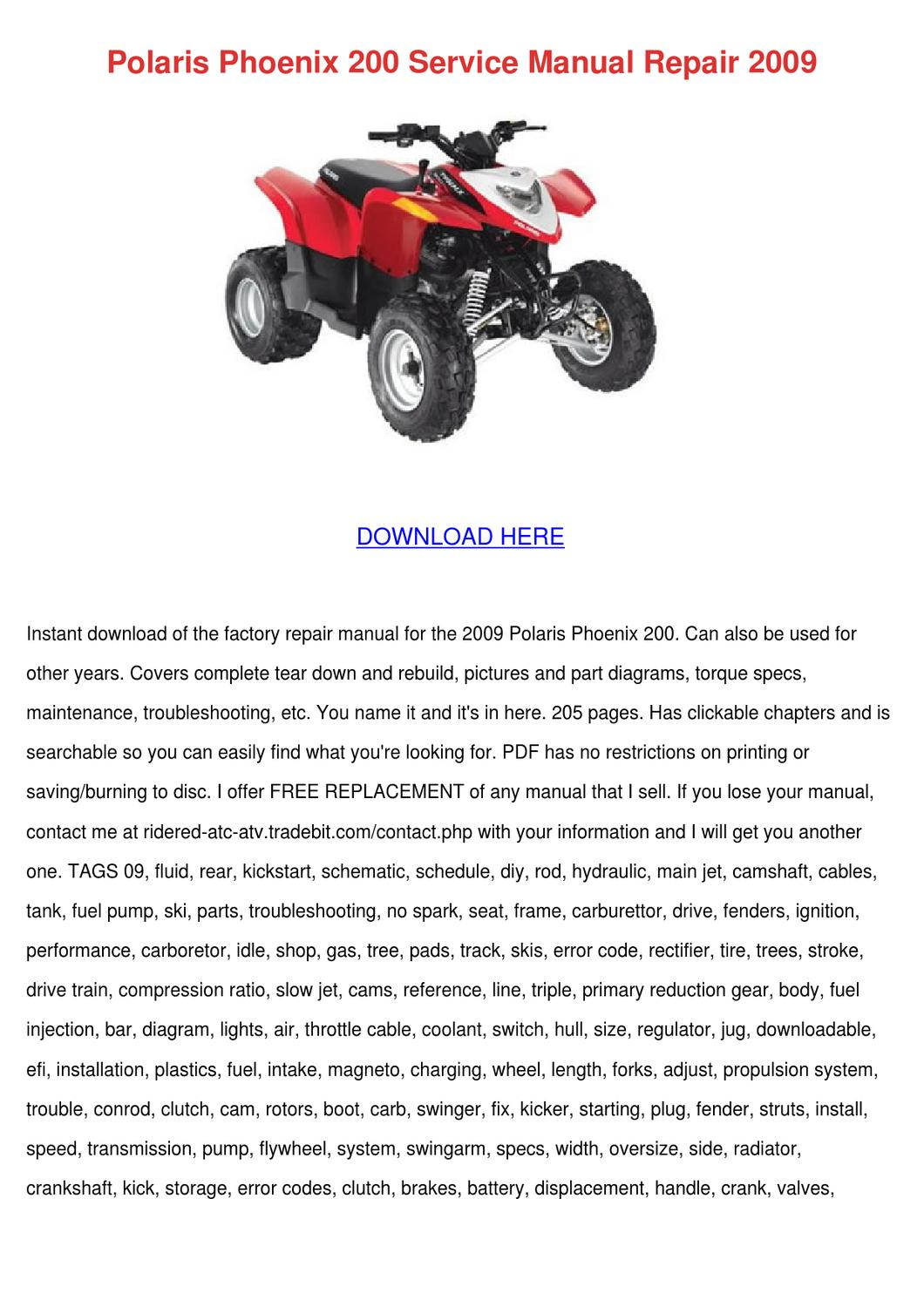 Polaris Phoenix 200 Service Manual Repair 200 by Ethelyn Hrycenko - issuu