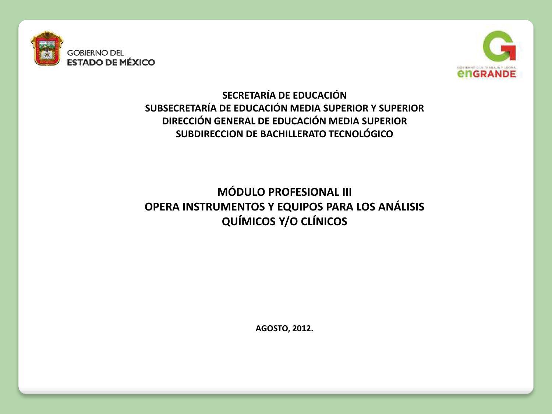 Técnico Laboratorista Químico 2011 Modulo III 3 by Subdirección de ...