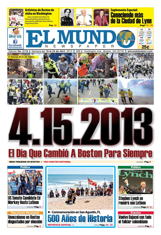 El Mundo Newspaper | No. 2116 | 04/18/13 by El Mundo Boston ...
