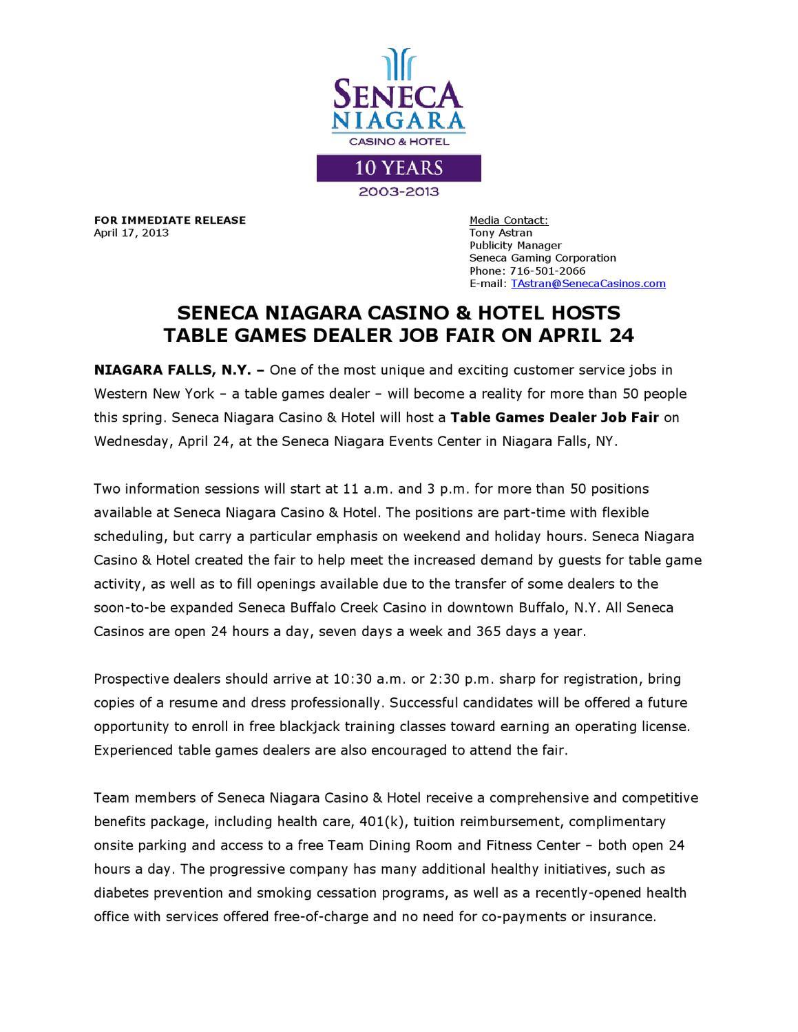 Seneca Niagara Casino Hotel Hosts Table Games Dealer Job Fair On