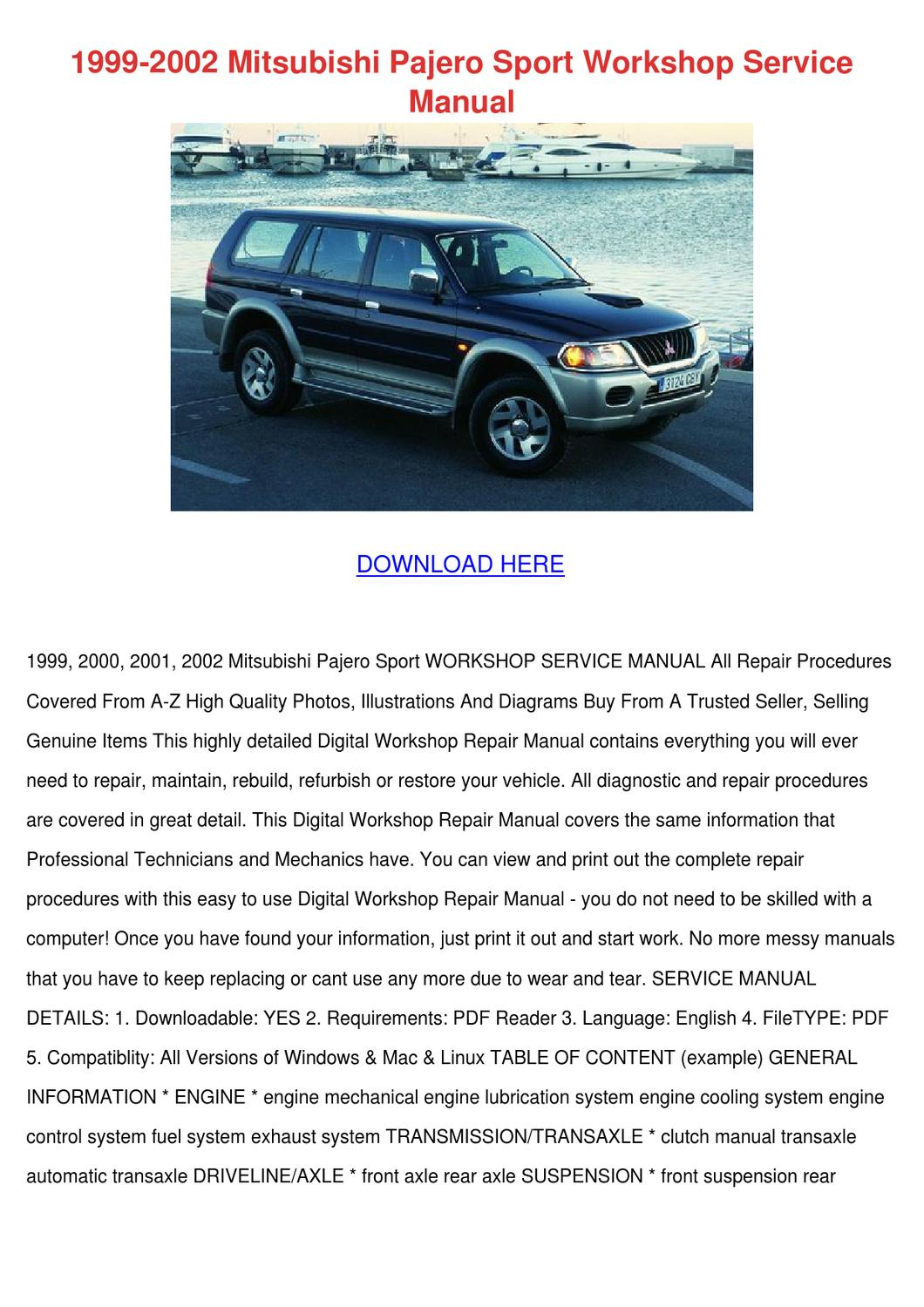 1999 2002 Mitsubishi Pajero Sport Workshop Se by Adelaide Guercio - issuu